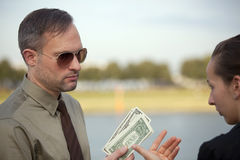 Man dealing with woman Stock Photography