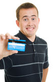Man with a debit card Royalty Free Stock Images
