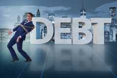 The man in debt business concept Stock Photography