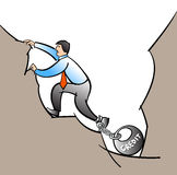 Man in debt hole. Vector illustration of a man in debt hole Stock Images