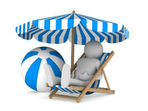 Man on deckchair and ball on white background Stock Images