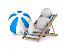 Man on deckchair and ball on white background Royalty Free Stock Image