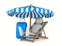 Man on deckchair and luggage on white background Royalty Free Stock Photos