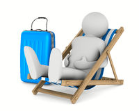 Man on deckchair and luggage on white background Royalty Free Stock Photo