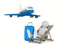 Man on deckchair and luggage on white background Royalty Free Stock Image