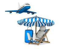 Man on deckchair and luggage on white background Stock Photography