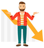 Man with declining chart Stock Images