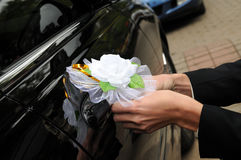 Man decorates a car Royalty Free Stock Image