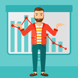 Man with decreasing chart. stock illustration