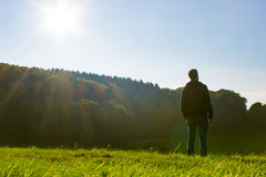 Man deep breathing in nature. Air royalty free stock image
