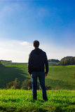 Man deep breathing in nature Stock Photos