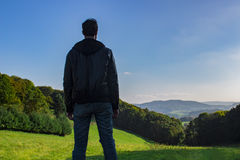 Man deep breathing in nature. Man deep breathing in Country nature stock photography