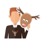 Man with Deer Mask Flat Design Vector Illustration. Red-head man character in sweater with deer mask in hand vector. Flat design. Masquerade animal clothing and Royalty Free Stock Photos