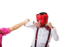 Man defending against woman's stroke Royalty Free Stock Photos