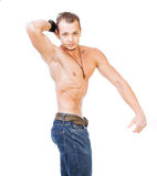 Man with definite muscles Stock Photo