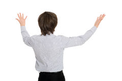 Man in delight has spread his hands Royalty Free Stock Photo