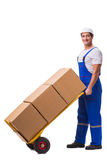 The man delivering box isolated on white Royalty Free Stock Photography