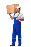 The man delivering box isolated on white Stock Image