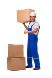 The man delivering box isolated on white Stock Photography