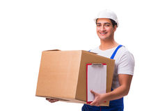 The man delivering box isolated on white Stock Photos