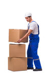 The man delivering box isolated on white. Man delivering box isolated on white stock image
