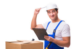 The man delivering box isolated on white Stock Images