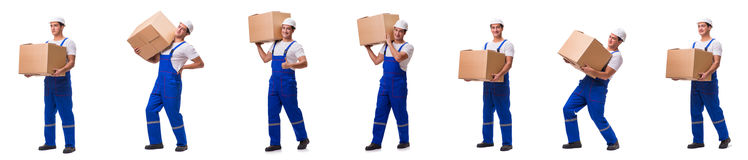 Man delivering box isolated on white Stock Images