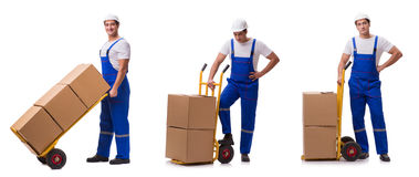 The man delivering box on white. Man delivering box on white stock photo