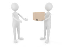 Man delivering cardboard box to a client. 3D man delivering cardboard box to a client Royalty Free Stock Images
