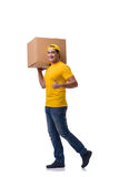 The man delivering christmas present isolated on white Royalty Free Stock Image