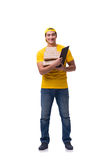 The man delivering christmas present isolated on white Stock Photo