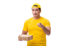 The man delivering christmas present isolated on white Stock Photos