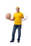 The man delivering christmas present isolated on white Stock Image