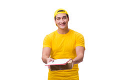 The man delivering christmas present isolated on white Royalty Free Stock Photography