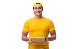 The man delivering christmas present isolated on white Royalty Free Stock Photo