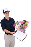 Man Delivering Flowers Royalty Free Stock Photo