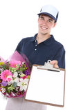 Man Delivering Flowers Stock Photography
