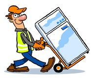 Man delivering fridge freezer. Cartoon illustration of a funny man with big nose delivering a three star fridge freezer on a trolley, white background Royalty Free Stock Image