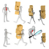 Man delivering a parcel to another 3d man. Set of images with 3d man delivering a a parcel to another 3d man Stock Photo