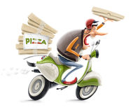 Man delivering pizza on bicycle stock illustration
