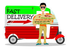 Man delivering pizza Stock Image