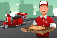 Man delivering pizza Royalty Free Stock Image