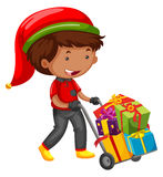 Man delivering presents for christmas. Illustration Stock Photography