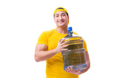 The man delivering water bottle isolated on white Stock Photos