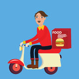 Man delivery fast food burger scooter motor cycle Royalty Free Stock Image