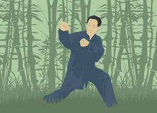 The man demonstrates the technique of Kung Fu. Against the background of the forest Stock Photo