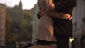 Man demonstrating macho behavior, flirting and having fun at a romantic date. Stock footage stock video