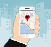 Man den hållande smartphonen med mobil gps-navigering med incheckningsymboler, illustration Royaltyfria Foton