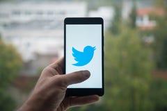 Man den hållande smartphonen med den Twitter logoen med fingret på skärmen Arkivbild