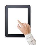 Man den tryckande på skärmen för handen på den moderna digitala tableten Arkivfoto